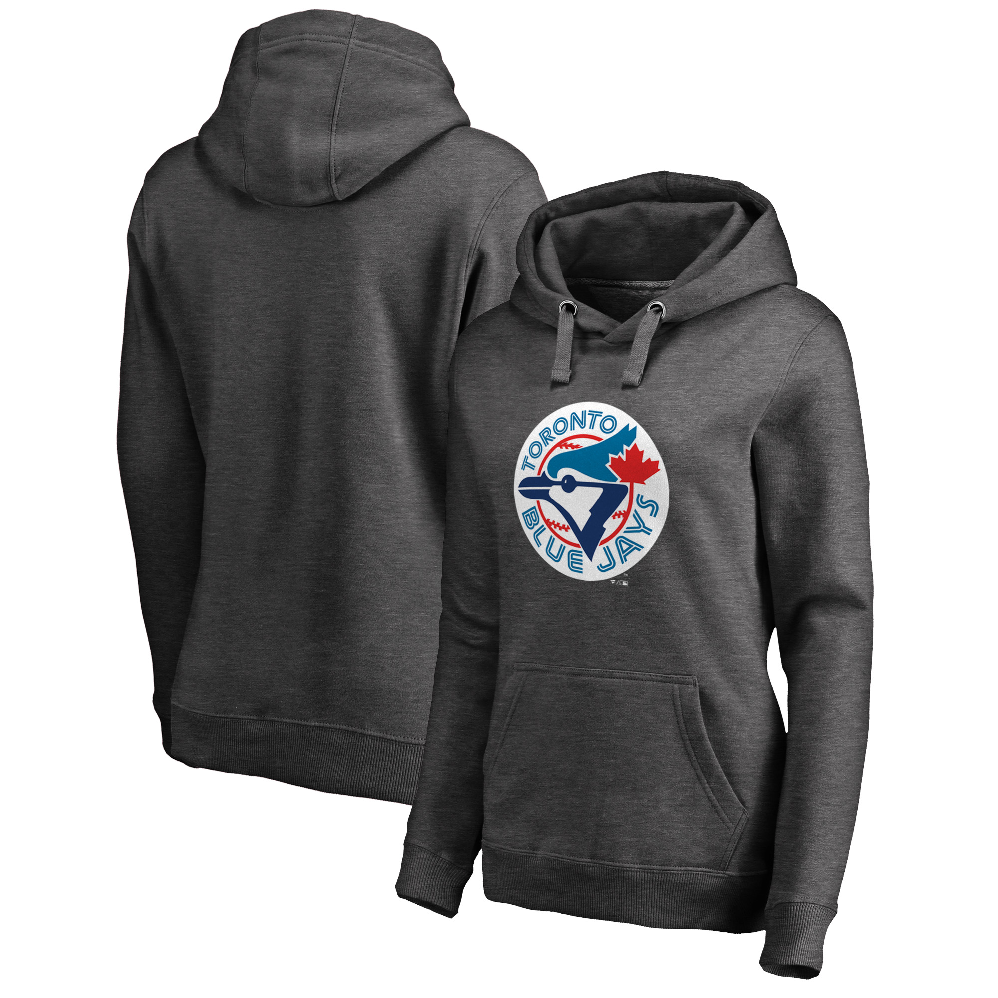 Toronto Blue Jays Fanatics Branded Women's Plus Size Cooperstown Collection Huntington Pullover Hoodie - Heathered Gray