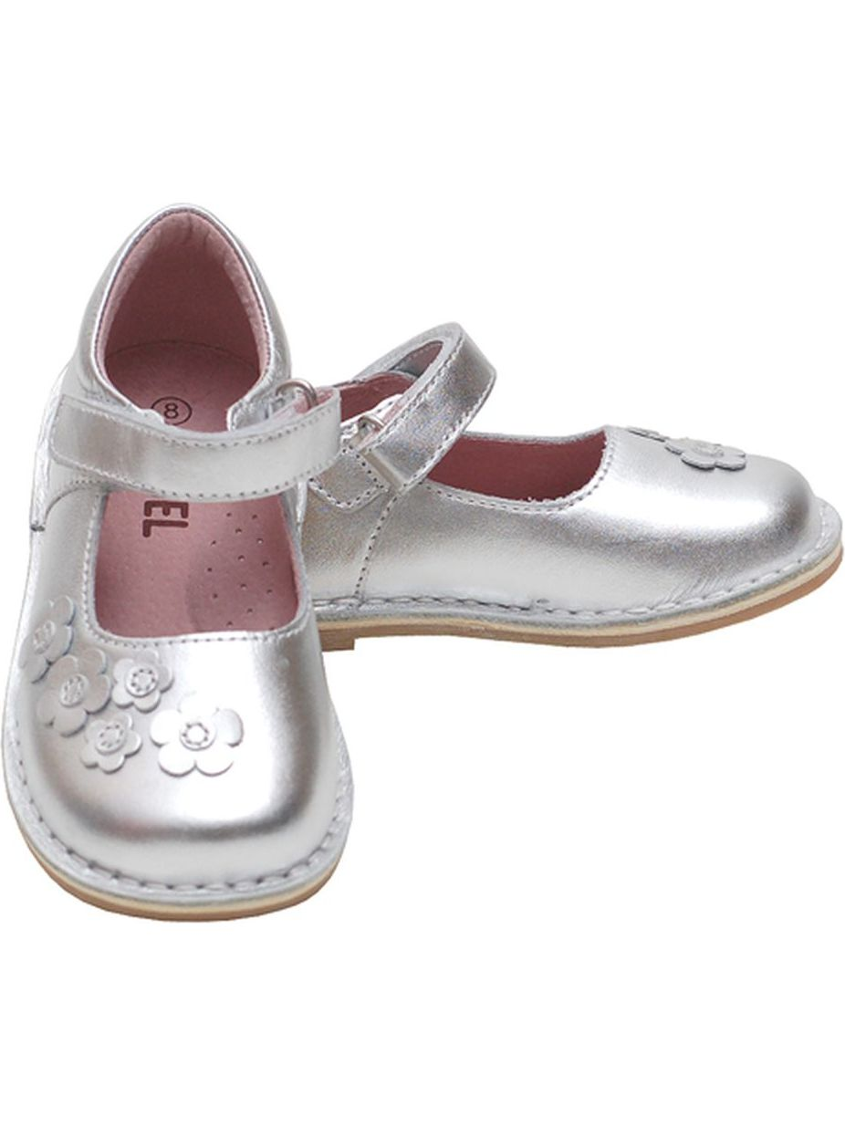 Silver Flowers Mary Jane Fall Shoes Baby Girls 4-Little Girls 12