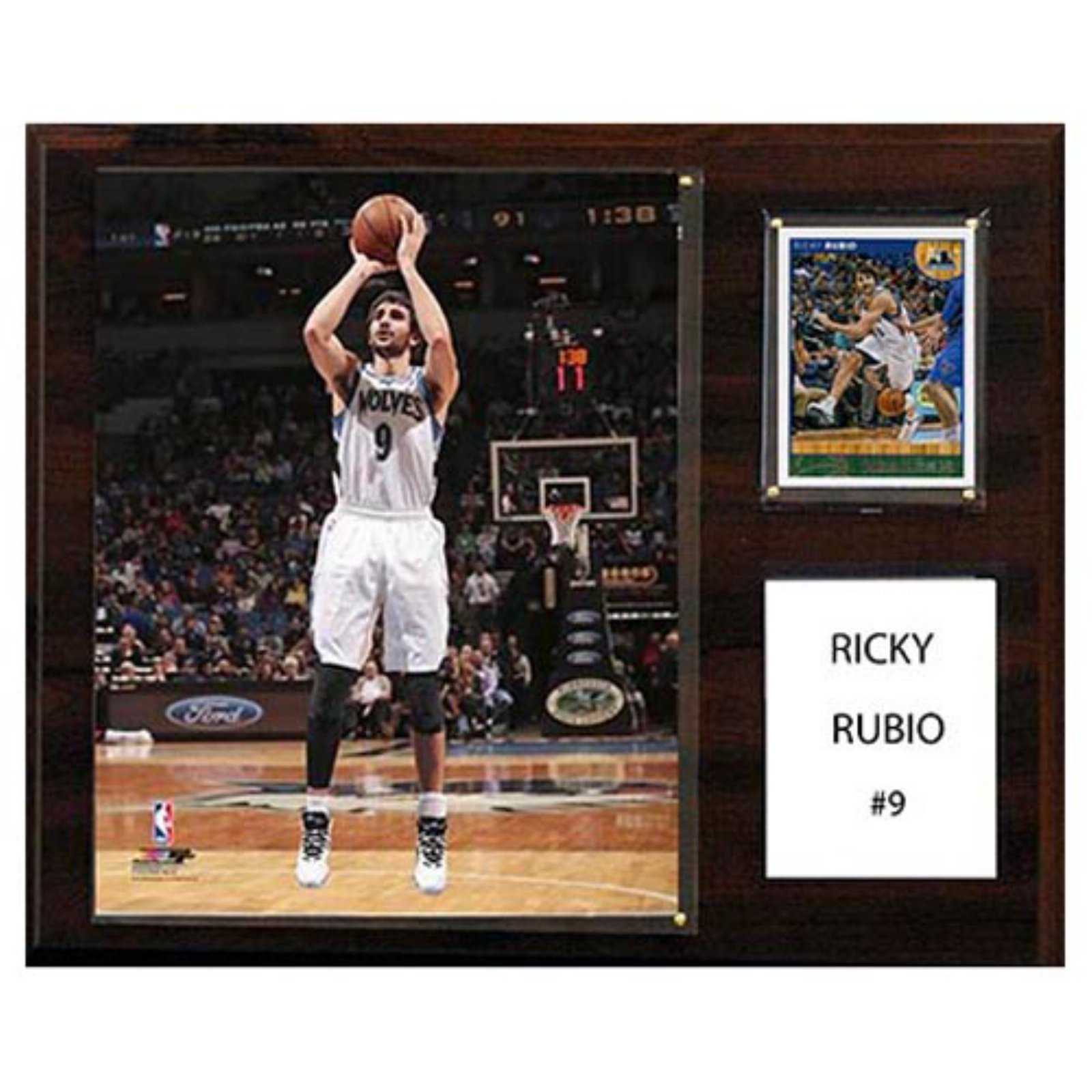 C and I Collectables NBA 15W x 12H in. Ricky Rubio Minnesota Timberwolves Player Plaque