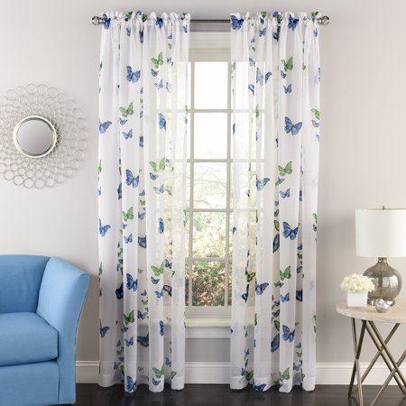 Butterflies Semi Sheer Tailored Window Curtain Panel Pair