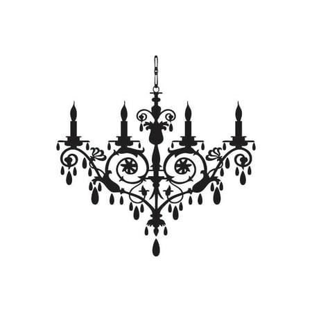 Chandelier Vinyl Graphic - Large Arm White Flower Crystal Chandelier
