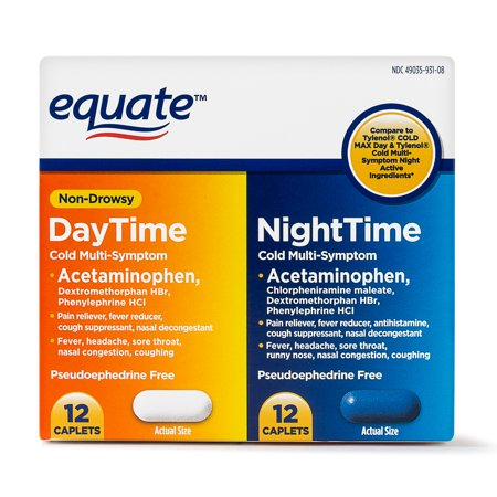 Equate Cold Multi-Symptom Daytime/Nighttime Acetaminophen Caplets, 325 mg 24