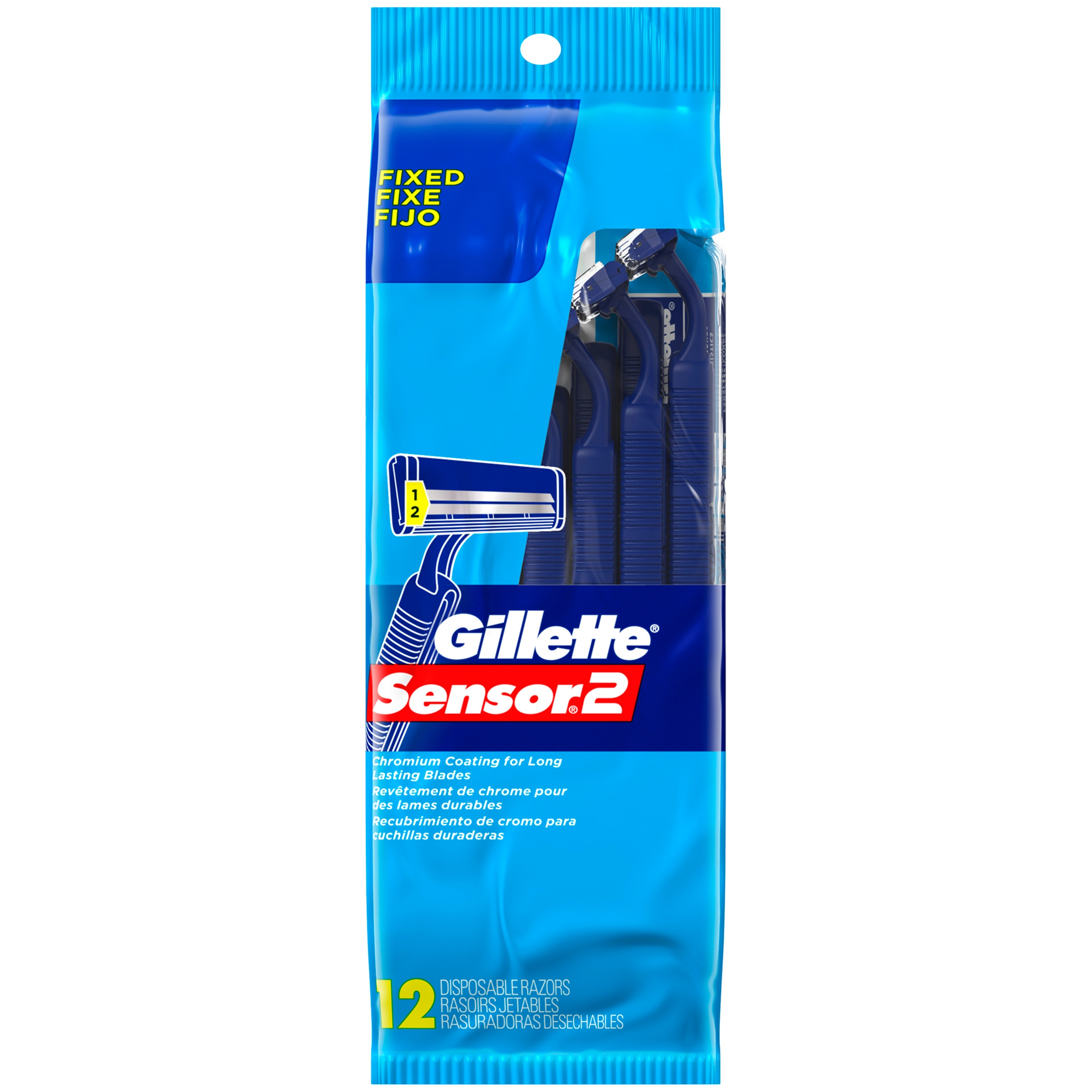 Gillette Sensor2 Men's Disposable Razors, 12 Count