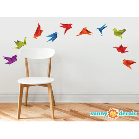 Origami Paper Cranes Wall Decals Set of 10 Cranes in Various Colors