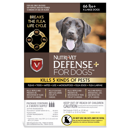 - Nutri-Vet K9 Defense Plus for Dogs Flea & Tick and More Extra Large 66 Pounds and up