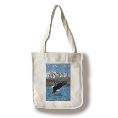 Montana, Last Best Place - Fishing Eagle - Lantern Press Original Poster (100% Cotton Tote Bag -