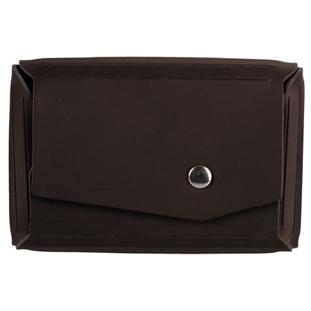 JAM Leather Snap Business Card Case, 1/Pack, Dark Brown, Angular Flap Snap Business Card