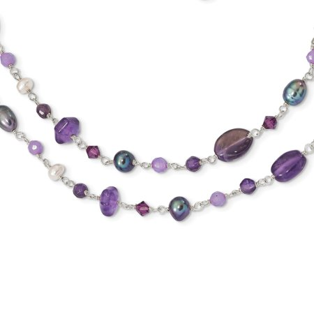 Lavender Jade And Pearl (Solid 925 Sterling Silver FWCult.Simulated Pearl (Grey & White)/Amy/Lavender Simulated Jade Necklace Chain )