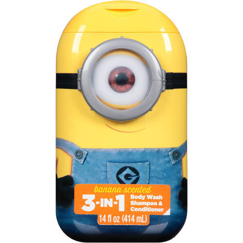 (2 Pack) Despicable Me 3-in-1 Body Wash Shampoo & Conditioner Banana Scented, 14.0 FL OZ