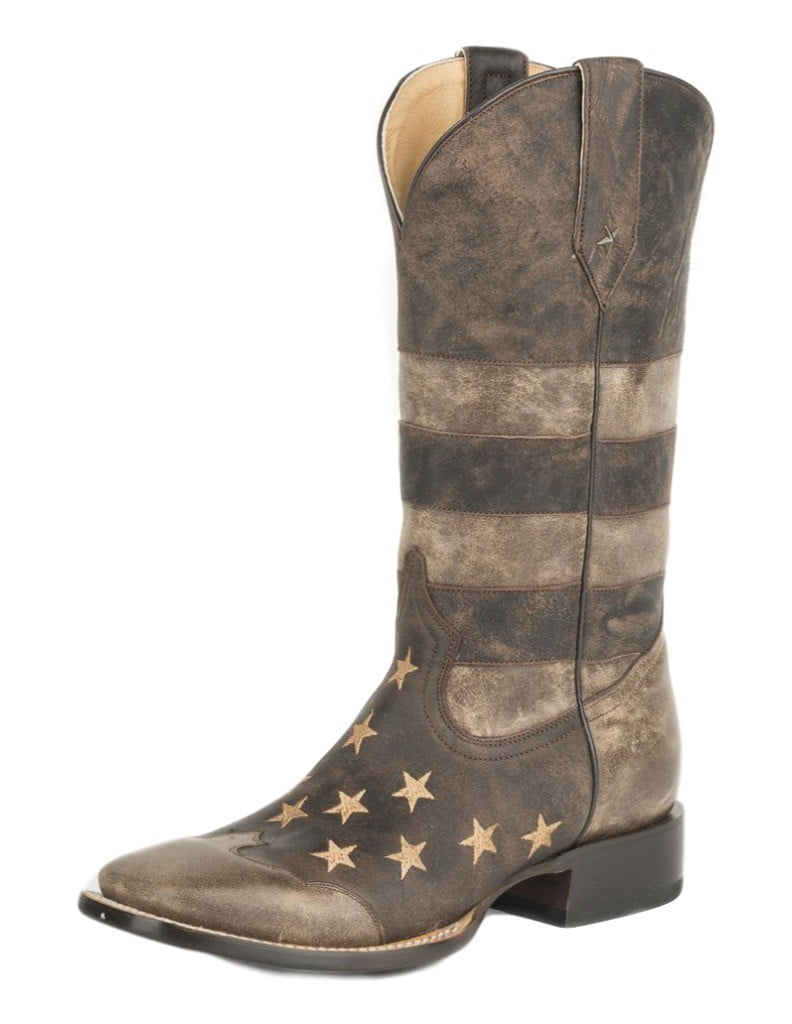 Roper Boots Mens Leather Pull On Americana 09-020-7001-0116 BR