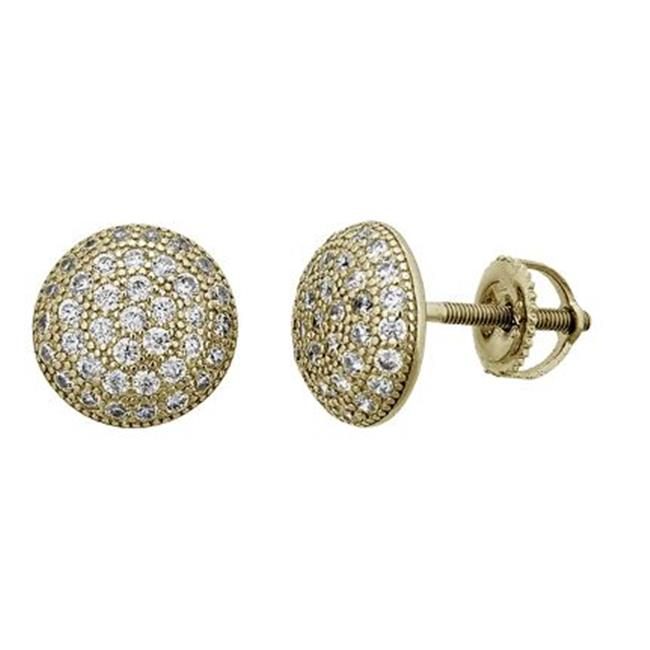YGI SZE4539Y2W Sterling Silver Yellow Micropave 10.3 mm. 3D Circle Screw-Back Stud - image 1 of 1
