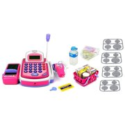 KX My First Cash Register Pretend Play Battery Operated Toy Cash Register w/ Working Scanning Action, Calculator, Money and Credit Card, Groceries