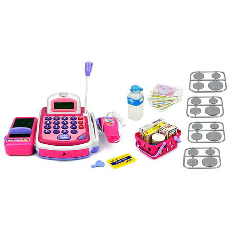 Kx My First Cash Register Pretend Play Battery Operated Toy Cash Register W  Working Scanning Action  Calculator  Money And Credit Card  Groceries