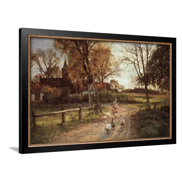 The Goose Girl Framed Art Print Wall Art By Peder Mork Monsted 26x18 Walmart Com Walmart Com