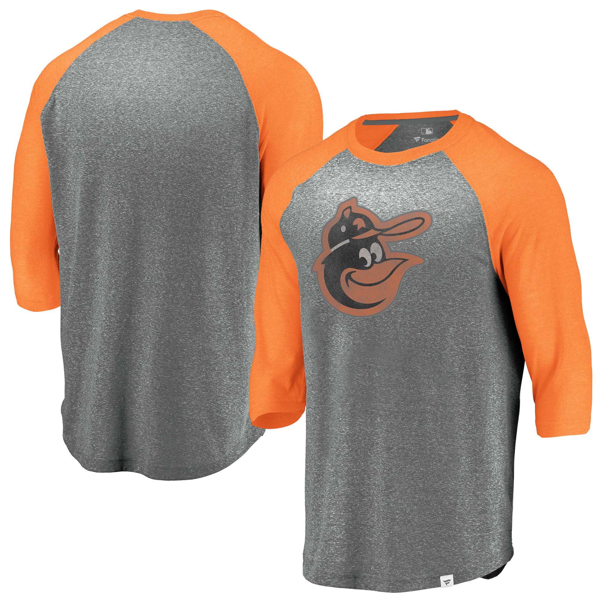 Baltimore Orioles Fanatics Branded Cooperstown Collection Massive Devotees Tri-Blend Raglan 3/4-Sleeve T-Shirt - Heathered Gray/Orange