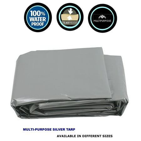 EXTREME HEAVY DUTY TWO TONE GREY POLY TARP REINFORCED MULTIPURPOSE WATERPROOF TARP (10