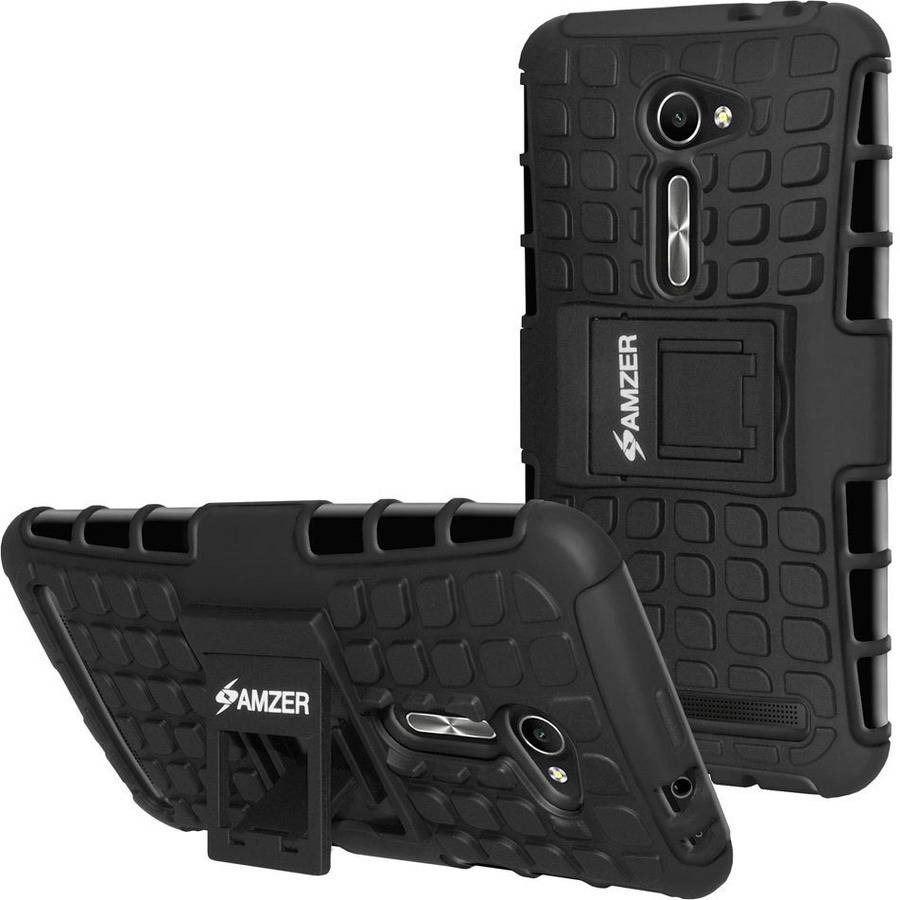 Amzer Hybrid Warrior Case with Kickstand for ASUS ZenFone 2 ZE500CL, 2E, Black