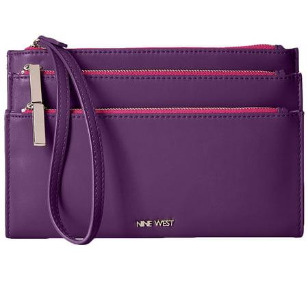 Nine West Womens Table Treasures Faux Leather Triple Zip Wristlet Wallet Leather Ladies Notebook Case
