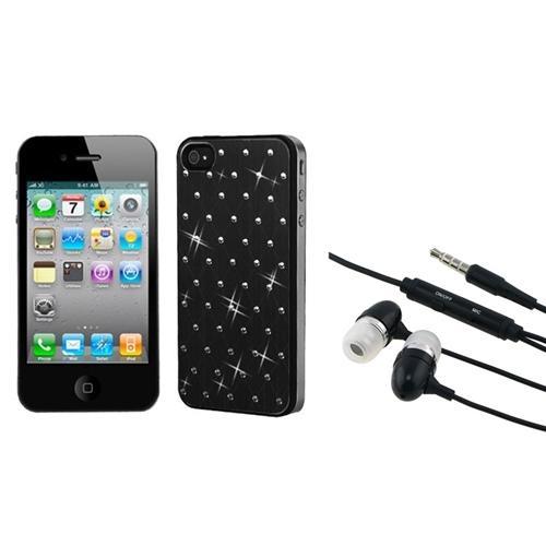 INSTEN Black Studded Back Plate Case Cover (Black Sides) For Apple iPhone 4 4S + 3.5mm Headset