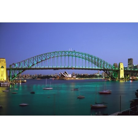 Sydney Harbour Bridge At Dusk With Opera House Behind PosterPrint