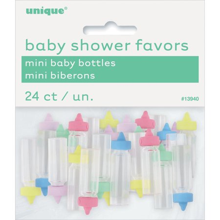 Mini Plastic Baby Bottle Baby Shower Favor Charms, 1 in, Assorted, 24ct - Babyshower Favors
