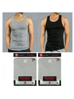 d628e0e1ef178c Product Image 6 X Mens Tank Tops 100% Cotton A-Shirt Ribbed Pack Undershirt  Black Gray