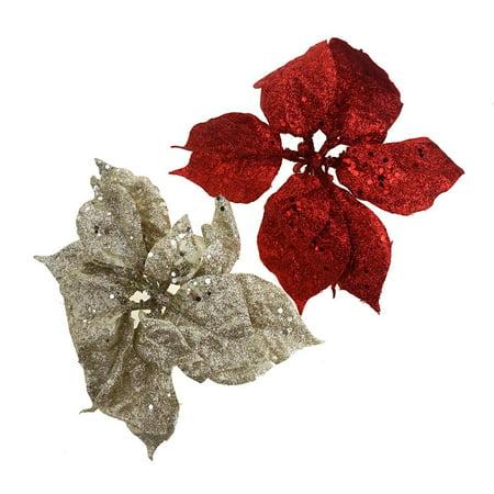 Clip On Glitter Poinsettias Christmas Decoration, 2-Piece ()