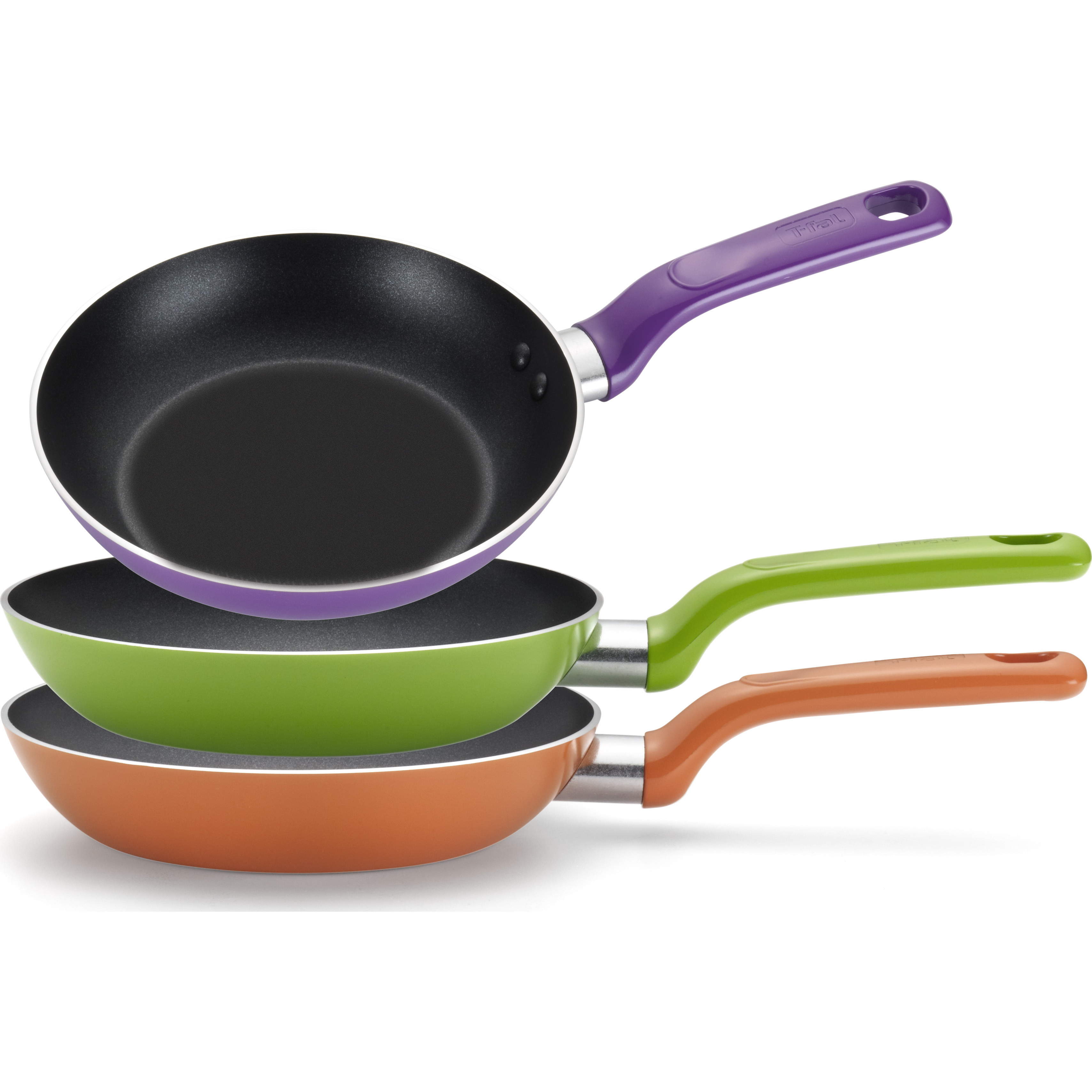 "T-fal, Enjoy Nonstick, C732S2, Dishwasher Safe Cookware, 8"", 9.5"" & 11"" Fry Pans, 3 Pc. Set, Green, Purple, Orange"