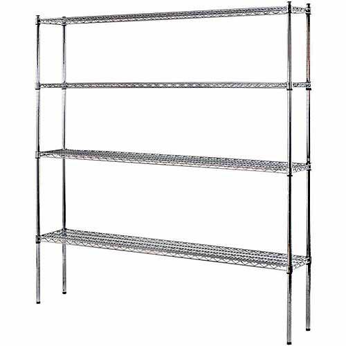 """4 Shelf 72""""W x 74""""H x 12""""D Heavy Duty Wire Shelving Unit"""