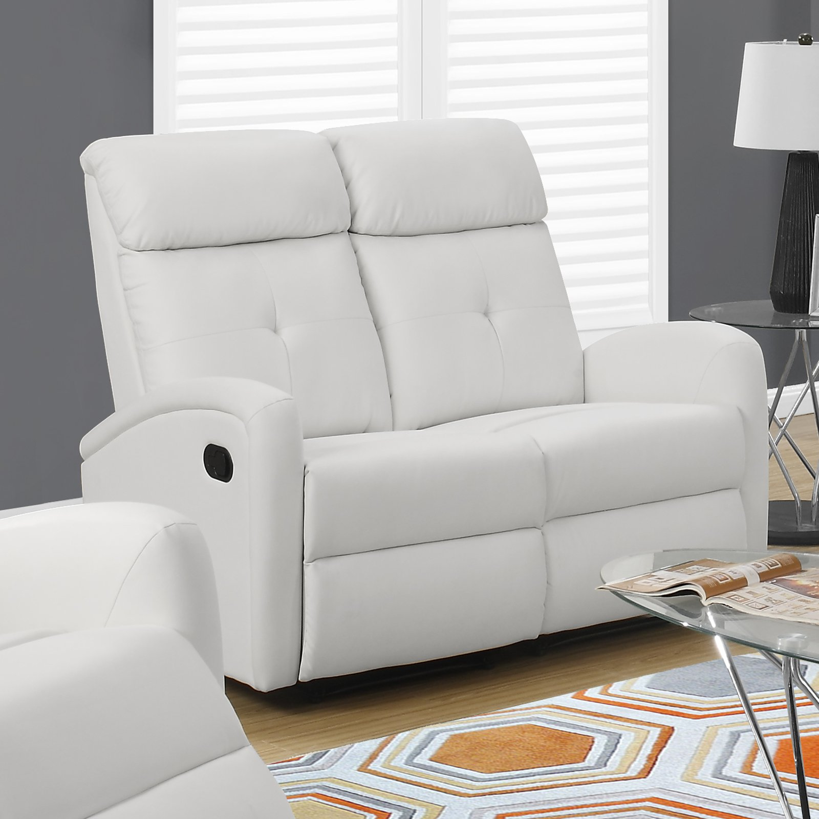 MONARCH - RECLINING-LOVESEAT BLACK BONDED LEATHER