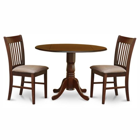 East West Furniture Dublin 3 Piece Drop Leaf Dining Table Set with Norfolk Microfiber Seat Chairs ()