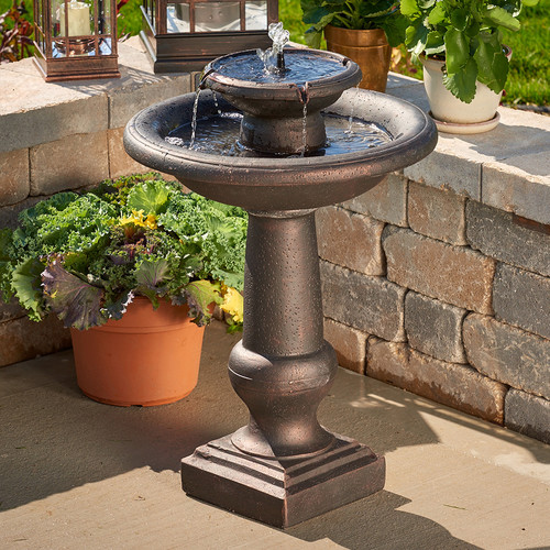 Chatsworth 2-Tier Solar-On-Demand Fountain Bronze by Smart Living Home & Garden