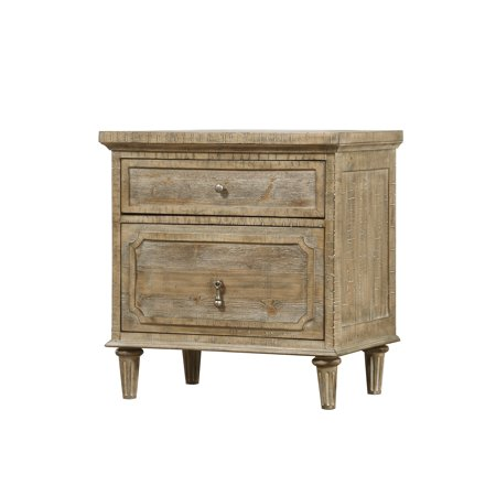 Emerald Home Interlude Sandstone Gray Nightstand with Turned Wood Legs And Vintage Look Hardware,
