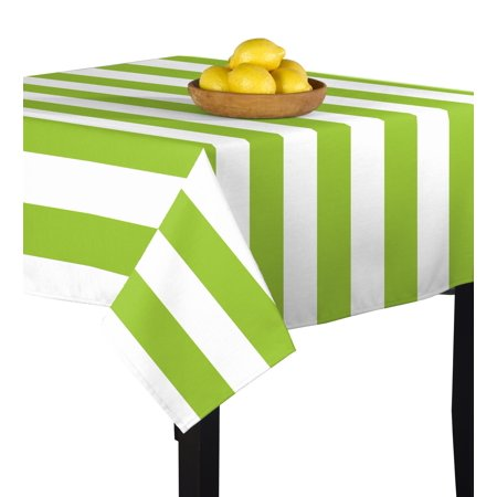 - Fabric Textile Products Lime & White Cabana Tablecloth 70