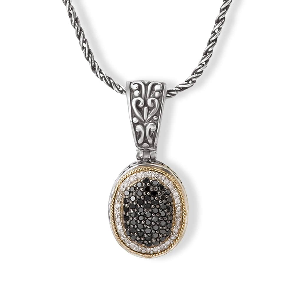 Avanti Sterling Silver and 18K Yellow Gold 5 8CT TDW Black and White Diamond Oval Pendant Necklace by Overstock