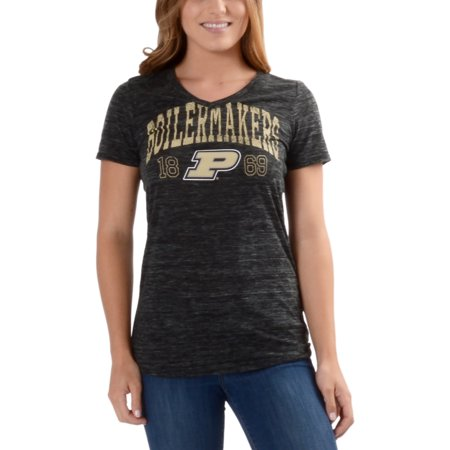 Women's Black Purdue Boilermakers Text Overlay V-Neck T-Shirt