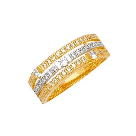 14K Solid Two Tone Gold 3 Row CZ Fancy Stylish Women's Ring - size 7.5