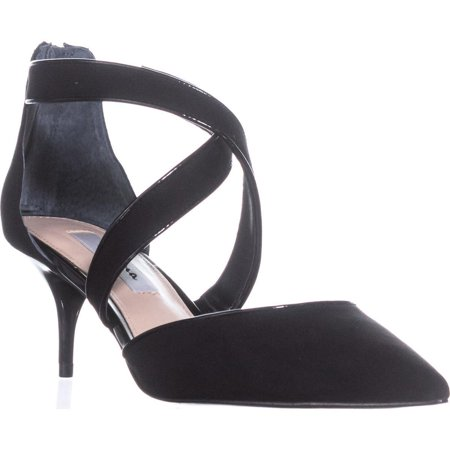Womens Nina Tristen Cross Strap Kitten Heels, True Black Glam, 8 US / 38 EU
