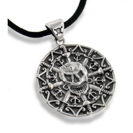 Pirate Swords Pendant (Jolly Roger Pirate Skull and Crossbones Sword Antiqued Sterling Silver Medallion Pendant 24