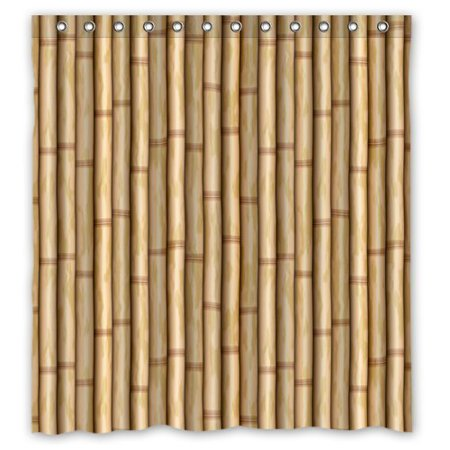 GreenDecor Brown Bamboo Waterproof Shower Curtain Set with Hooks Bathroom Accessories Size 66x72 - Bamboo Bathroom
