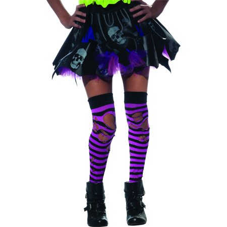 Zombie Ripped Pink & Black Striped Thigh Highs Costume Hosiery - Zombie Costumes For Children