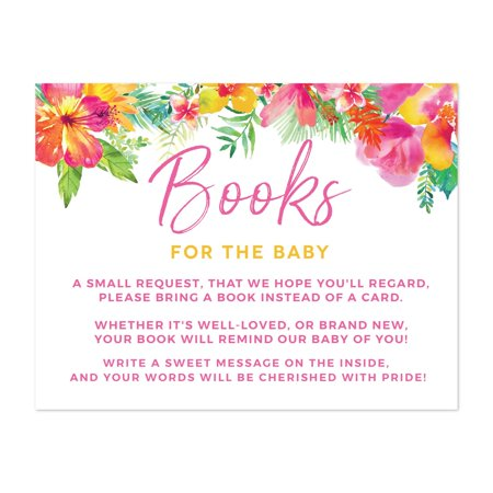 Tropical Floral Garden Party Baby Shower, Books for Baby Request Cards, 20-Pack, Games Activities and Decorations