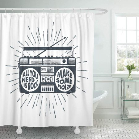 KSADK 80s 90s Badge with Boombox Recorder and All You Need is Rock Make Some Noise Base Shower Curtain Bath Curtain 66x72 inch](90's Boom Box)