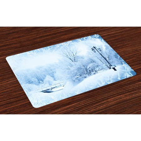 Winter Placemats Set of 4 Winter Trees in Wonderland Theme Christmas New Year Scenery Freezing Icy Weather, Washable Fabric Place Mats for Dining Room Kitchen Table Decor,Blue White, by - Winter Wonderland Ball Theme