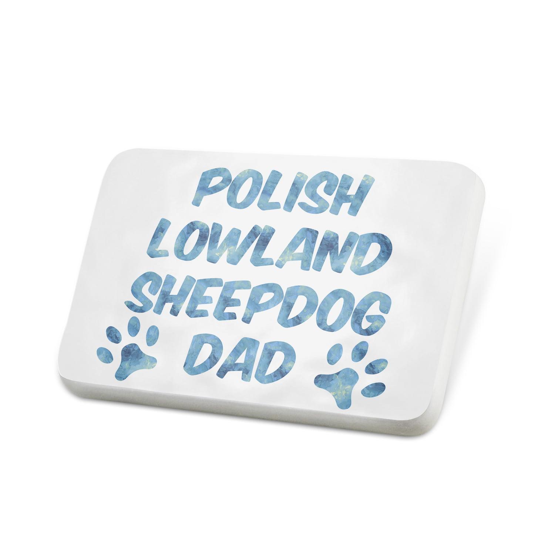 Porcelein Pin Dog & Cat Dad Polish Lowland Sheepdog Lapel Badge – NEONBLOND