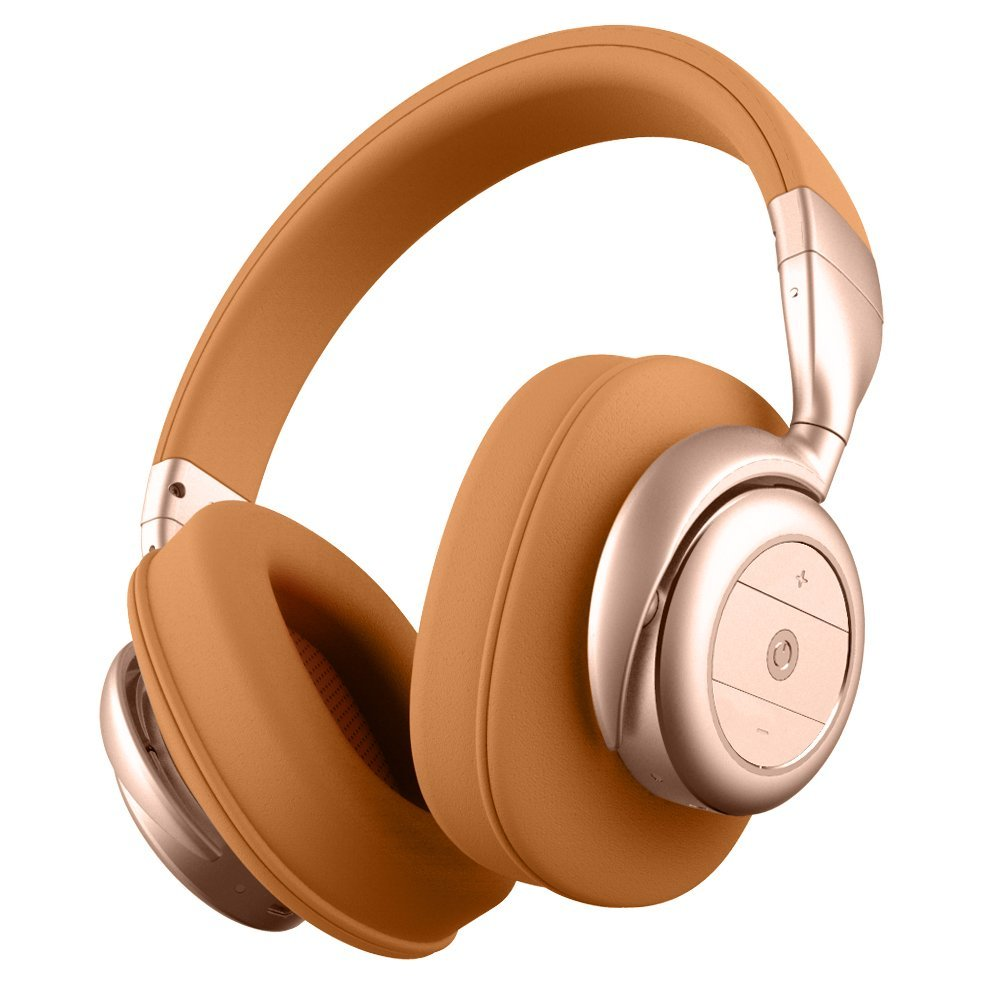 BOHM B76 Wireless Bluetooth Over-Ear Noise Canceling Headphones - Brown / Gold