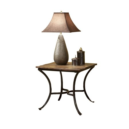 Emerald Home Innsbruck Medium Brown End Table with Solid Wood Top And Curved Metal Base ()