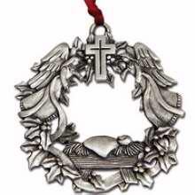 Ornament-Wonders Of His Love w/Gift Tag (Isaiah 9:6 KJV) (Ornaments Of Faith)-Pewter