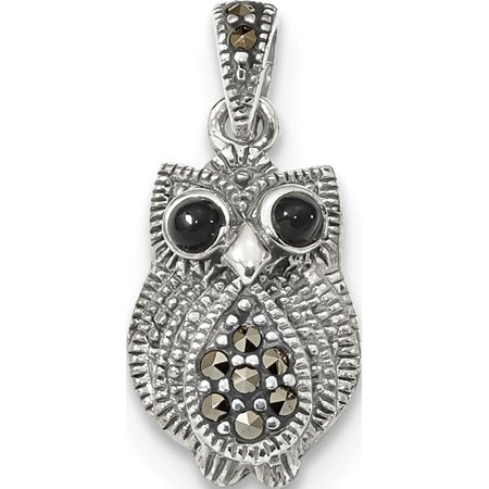 Leslies Fine Jewelry Designer 925 Sterling Silver Marcasite & Black Agate Owl (11x15mm) Pendant Gift