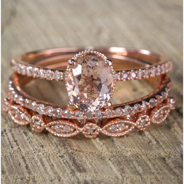 Jeenjewels Sale 2 Carat Antique Milgrain Oval Shape Morganite Diamond Trio Ring Set In 10k Rose Gold With One Halo Engagement Ring 2 Wedding Bands Walmart Com Walmart Com